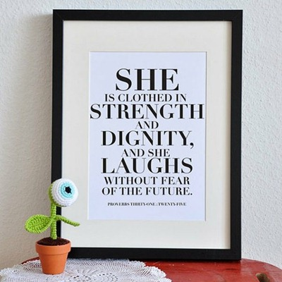 quote wall frame proverbs 31-25 bible verse she is clothed in strength